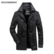 2017  New arrival FASHION men leather jacket Thickening and thickening men's leather clothing warm men fur jackets