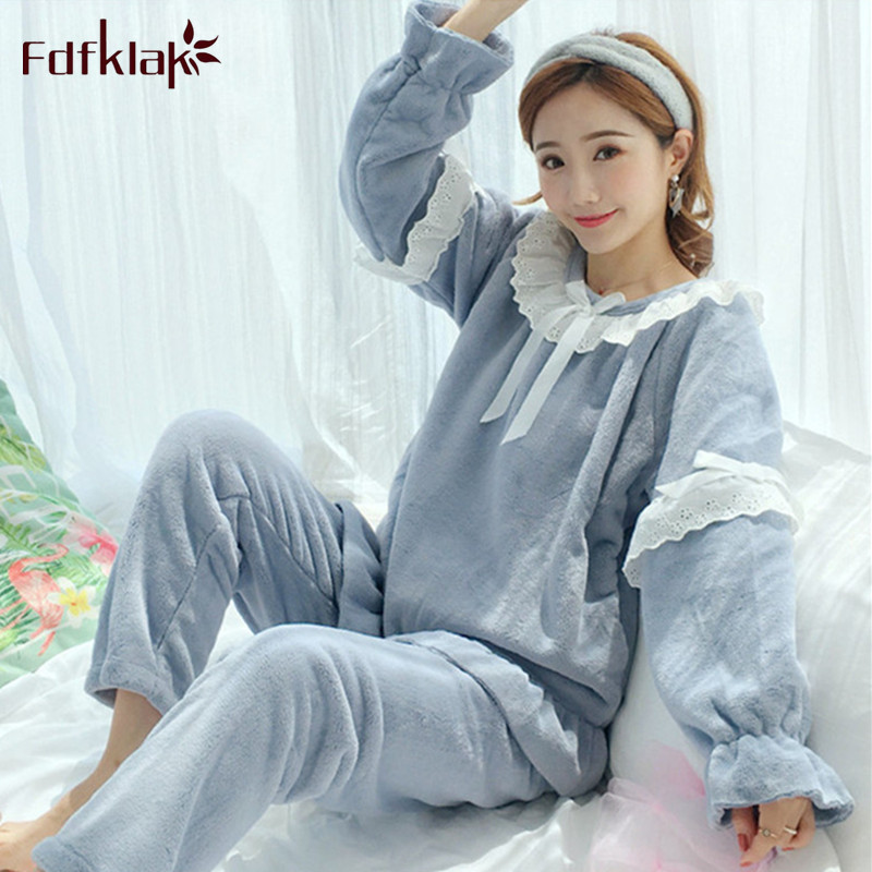 Fdfklak Sweet student's   pajamas     set   long sleeve flannel pijamas   sets   thick warm winter sleepwear pyjamas large size pyjama femme