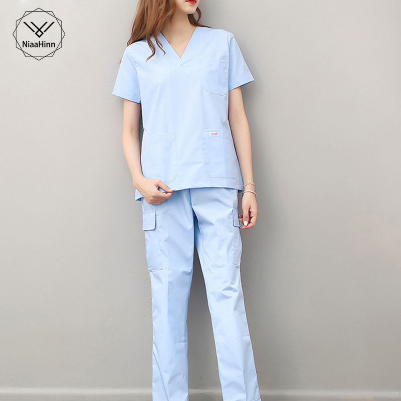 Summer Short Sleeve Women Work Tops Pants Scrub Sets Hospital Doctor Nurse Surgical Suit Dentist Clinic Medical Uniforms