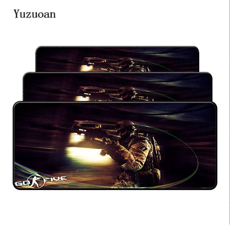100% Quality Yuzuoan Counter Strike Global Offensive Large Mousepad Natural Rubber Lock Edge Mat Gaming Computer Desk Mice Pads 900*400*3mm Exquisite (In) Workmanship