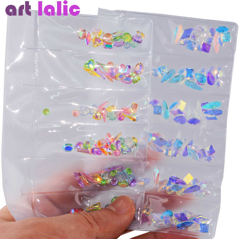 1 Pack AB Glass Nail Rhinestones Diamond Teardrop Horse Eye Crystals Stones Shiny Gems Manicure Nails Art Decorations