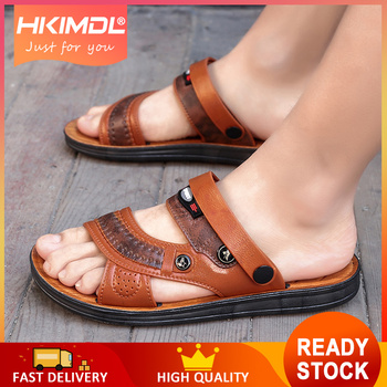 942573c68da HKIMDL 2019 hombres zapatos de playa sandalias casuales de la PU de la alta  calidad antideslizante de los hombres zapatillas Sandalias de ocio de los  ...