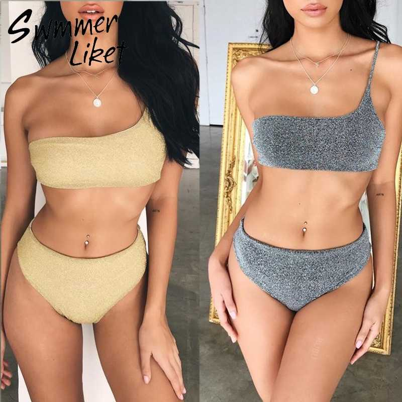 1cfa4b1c35 Summer 2019 beach wear String sexy swimsuit female biquini Push up two-piece  suit gold