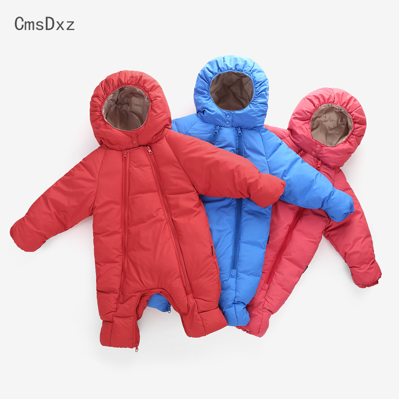 CmsDxz 0-24M Newborn Snow Wear Baby Clothes Winter Baby Boys Girls Rompers Coats 2017 Warm Jumpsuits Outerwear Heavy Padded Coat baby children winter kids boys girls double side wear hoodie cloak baby clothes bebe poncho cape coat outerwear