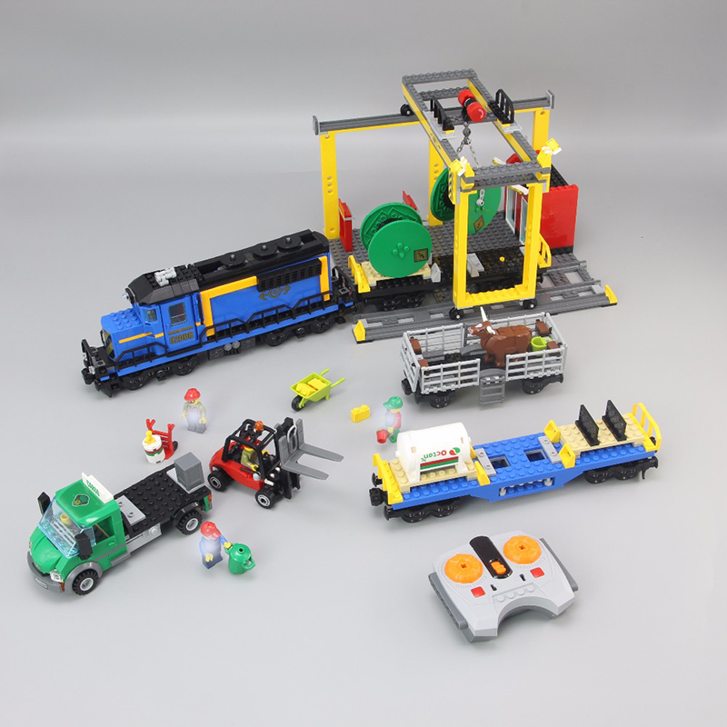 Voiture ville Cargo RC Train lourd-courrier 02008 02009 Compatible Legoinglys 60052 blocs de construction ville Train Train jouets pour enfants