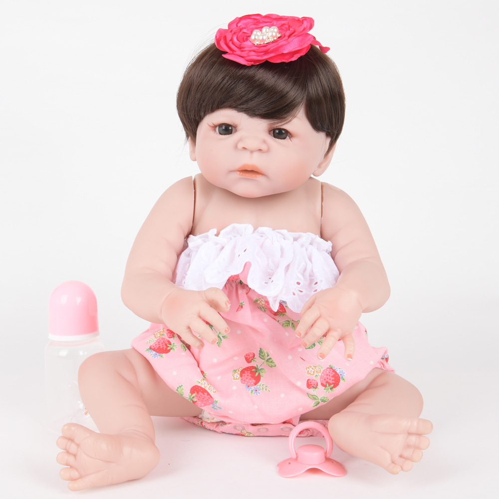 22 Inch Soft Full Silicone Reborn Baby Lifelike Newborn Princess Girl Doll for Kids Toy Christmas Birthday New Year Gift цена 2017