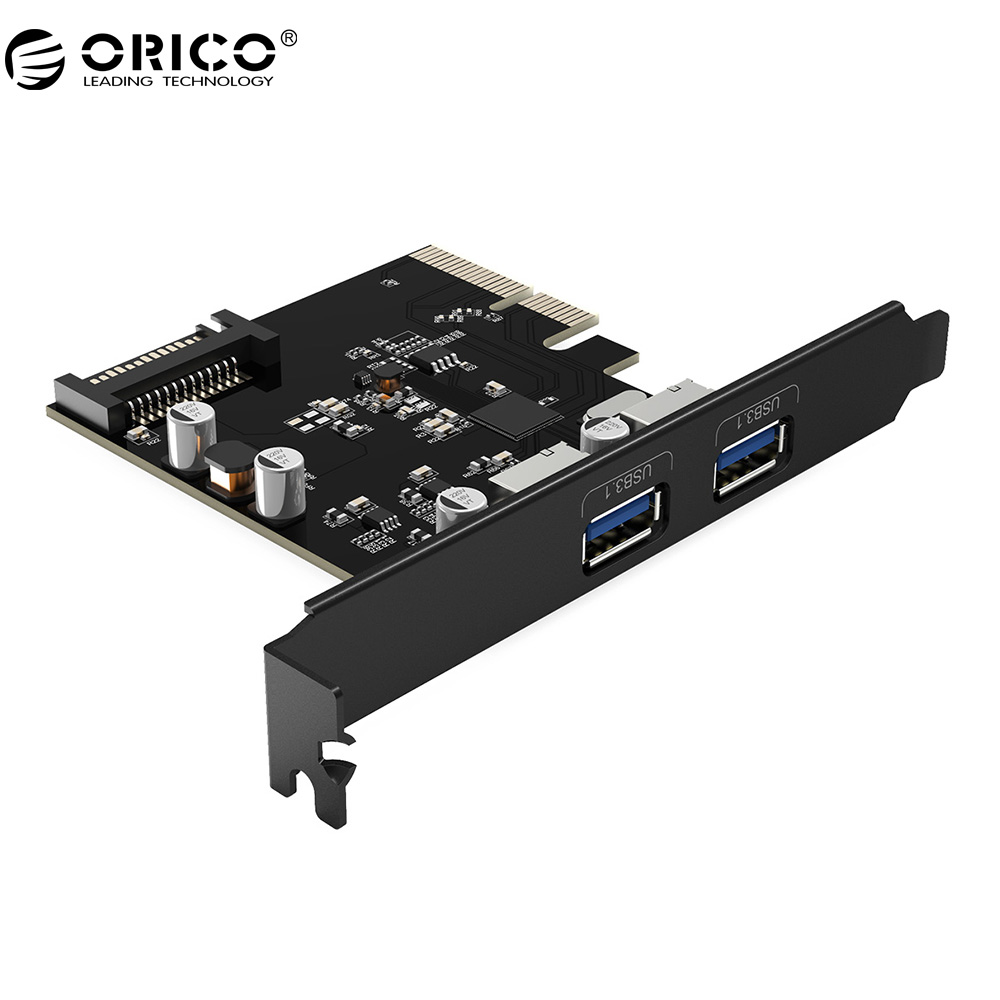 ORICO PA31-2P PCI-E PCI Express Riser tarjeta 2 puerto USB 3,1 HUB adaptador con 15Pin alimentación PCI-E Extender tarjeta