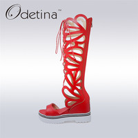 Odetina 2018 New Fashion Women Gladiator Sandals Knee High Open Toe Sandals Thick Platform Wedge Summer Boots Sexy Big Size 43