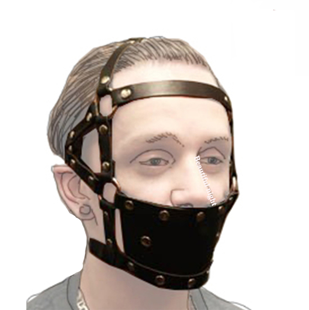 Ball Mouth Gag ,Leather Head Harness Mouth Mask BDSM Bondage Restraint Mouth Gag Muzzle,Adult Sex Toys 6