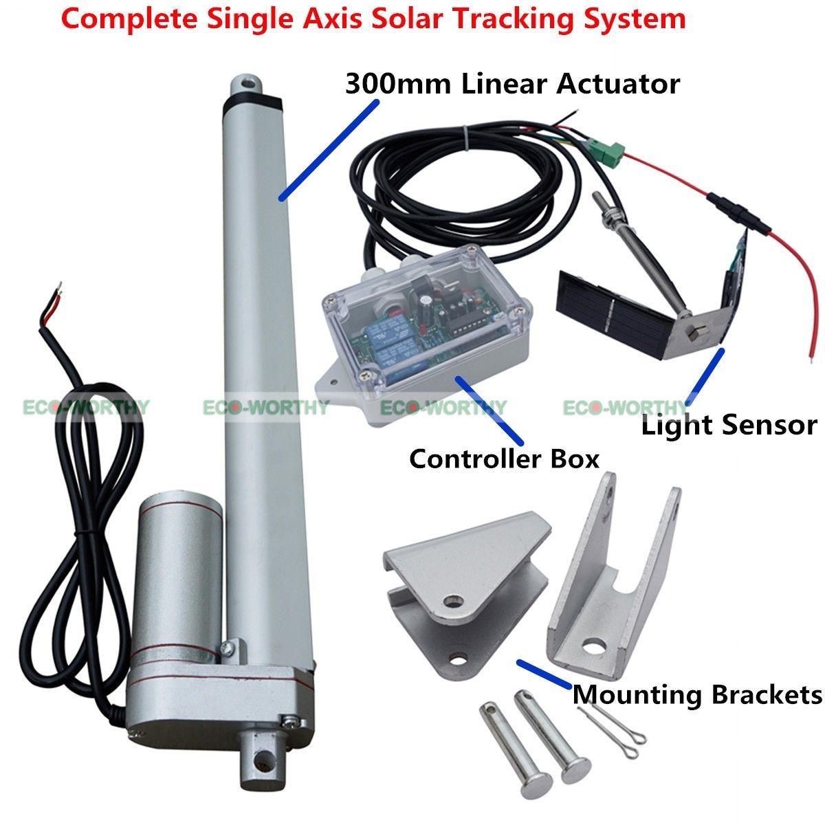 1kw Single Axis Solar Panel Tracker W 18 Dc Motor Linear Actuator Controller 12v System Kit 12linear