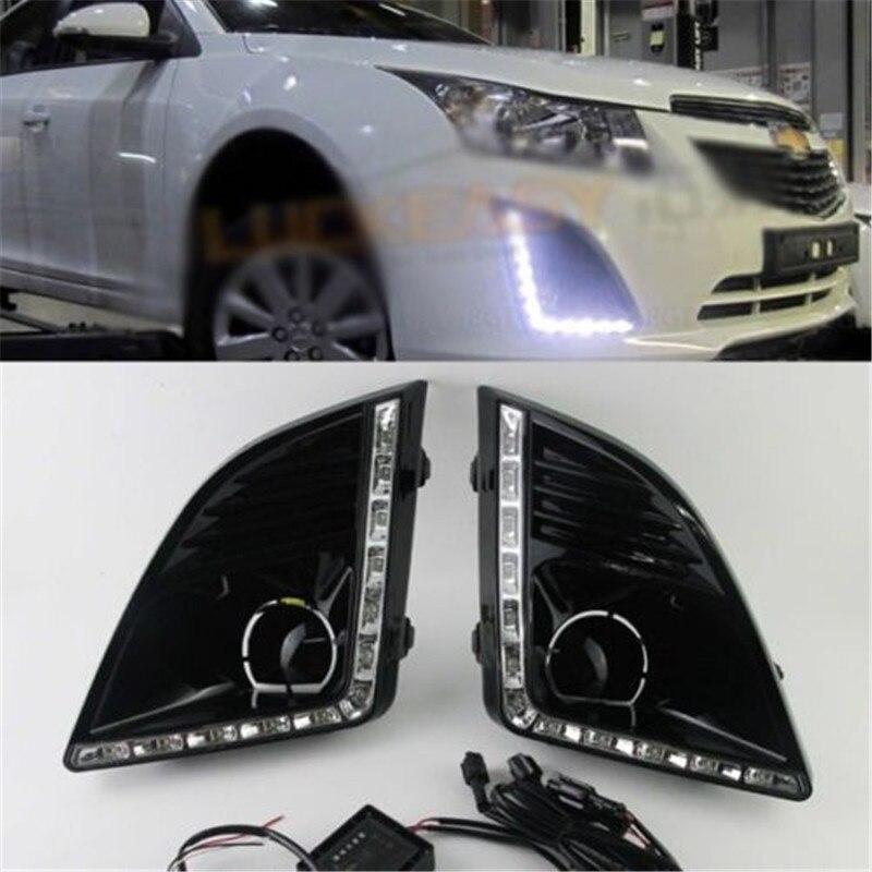 Car LED DRL Fog Lamp Cover For Chevrolet Chevy Cruze 2013 2014 2015 Daytime Running Light With Light-Off Function free shipping for car fog lamp for drl for audi for q3 car led daytime running light 2013 2014 2015 2016