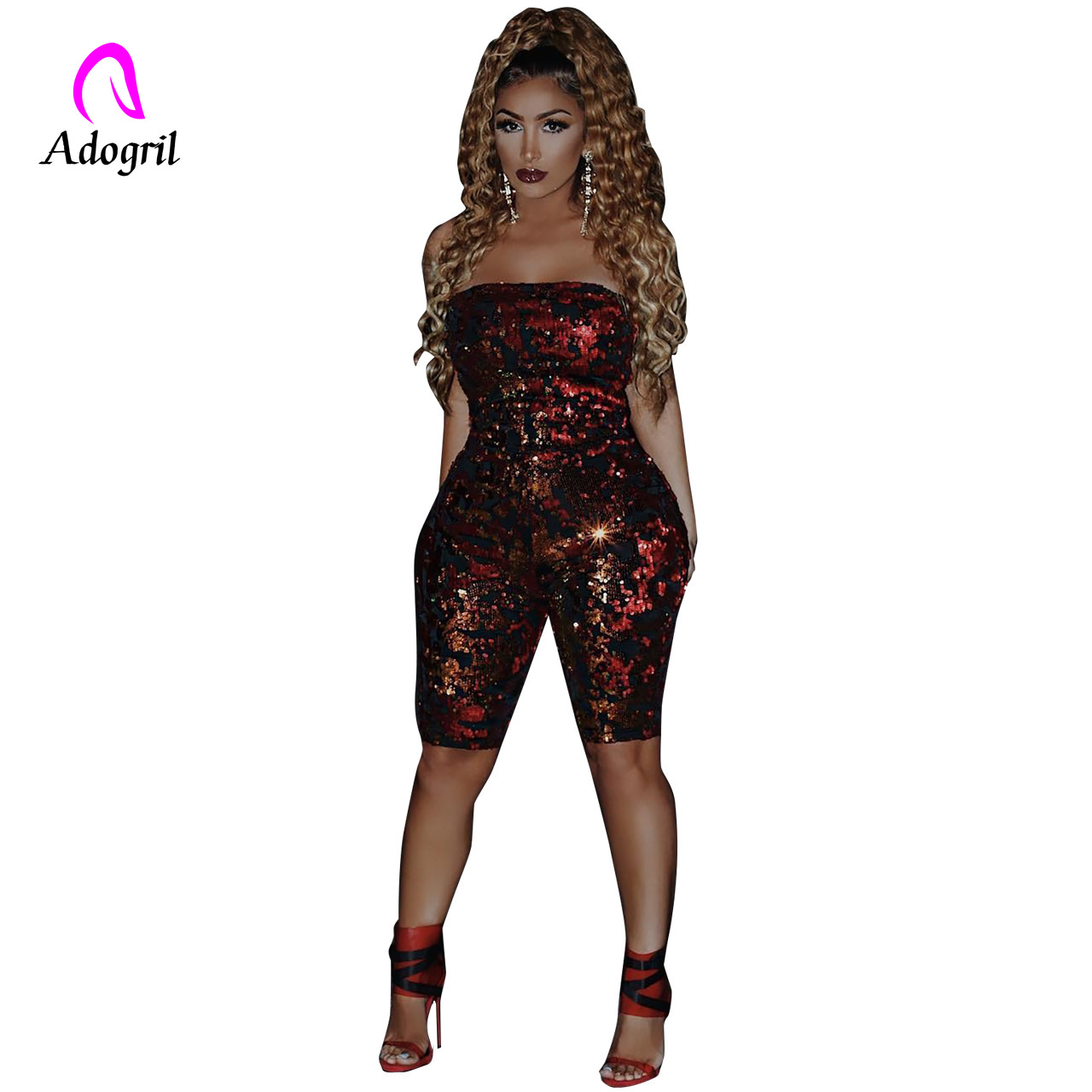Nightclub Rompers Women Squined strapless Jumpsuits One Piece Outfit Bodycon Playsuit Red Slim Party Rompers Women Streetwear in Rompers from Women 39 s Clothing