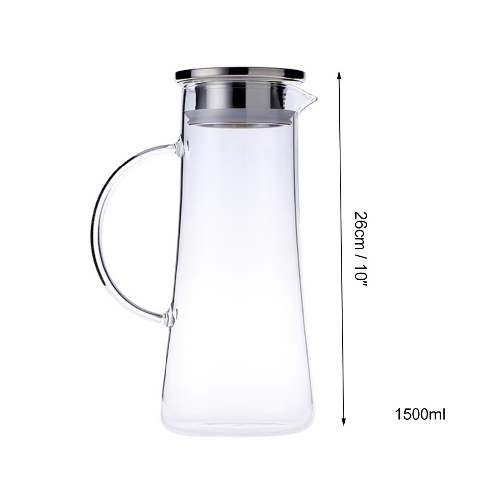 1 5L Glass Hot/Cold Water Carafe Pitcher Stainless Steel Cover or Wooden  Cover Lid 50 oz Explosion-Proof Cold Heat Leakproof