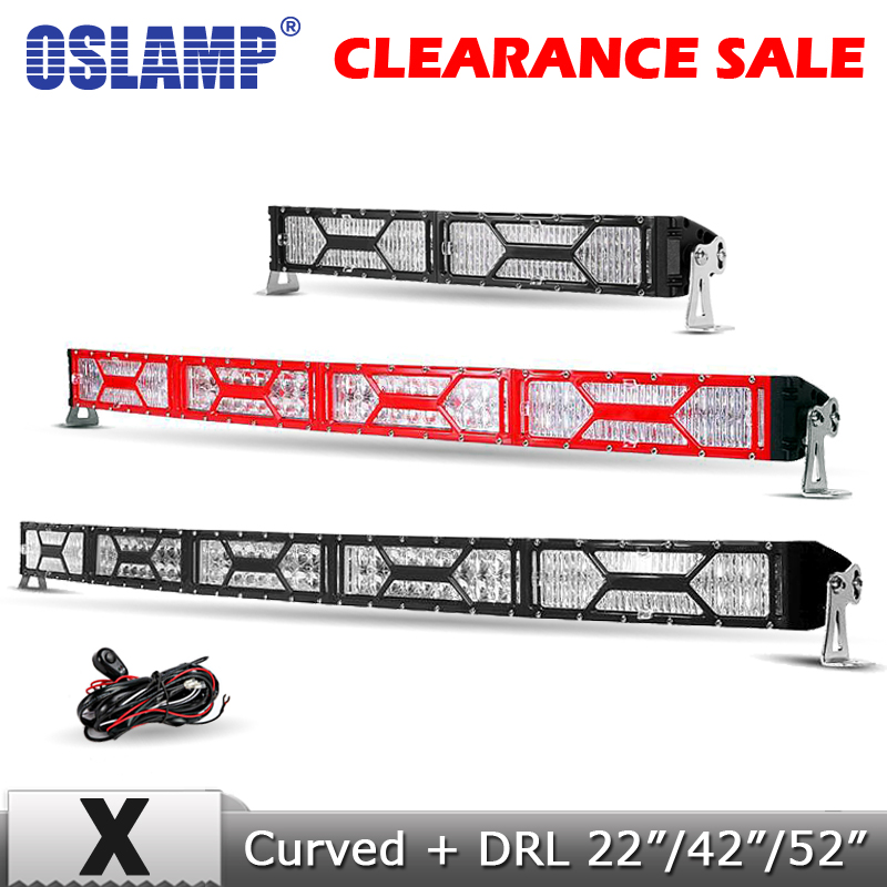 Oslamp 22 42 52 Curved LED Light Bar CREE Chips Combo Offroad 4x4 Led Bar Driving Work Light for Truck SUV 4WD 12v 24v Black oslamp 5d 32 led light bar 300w cree chips offroad led work light bar combo beam 12v 24v truck suv atv 4x4 4wd led driving lamp