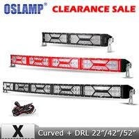 Oslamp 22 42 52 Curved LED Light Bar Combo Beam Offroad 4x4 Led Bar Led Driving Work Light for Truck SUV 4WD 12v 24v Black