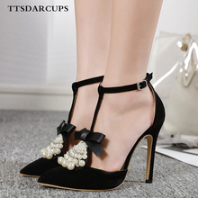TTSDARCUPS New summer pearl diamond bow high heel hollow sandals Ankle strap sexy nightclub pumps Plus Size 35-40 shose women