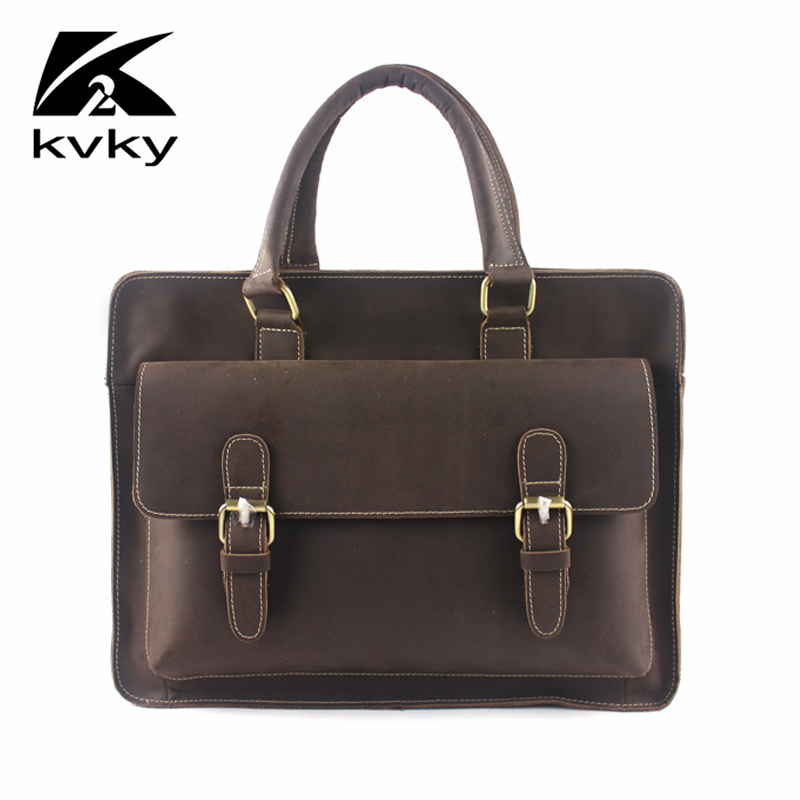 KVKY Vintage Genuine Leather Men's Portable Briefcase Crazy Horse Laptop Bag Business Man Shoulder Bag Designer Men Bag Quality portable genuine leather man briefcase economic document bag 7060309