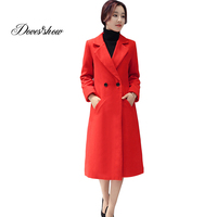 Women S Cashmere Coat 2017 New V Neck Solid Trench Woolen Coat Woman Warm Winter Jacket
