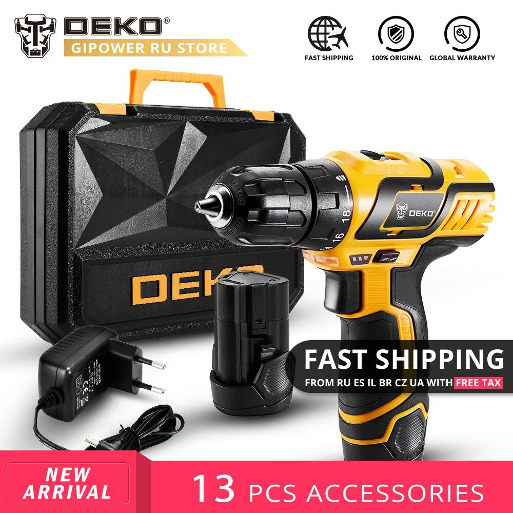 DEKO GCD10.8DU3 10.8 V DC nouveau Design ménage batterie Lithium-Ion perceuse sans fil bricolage tournevis électrique LED Mini perceuse électrique