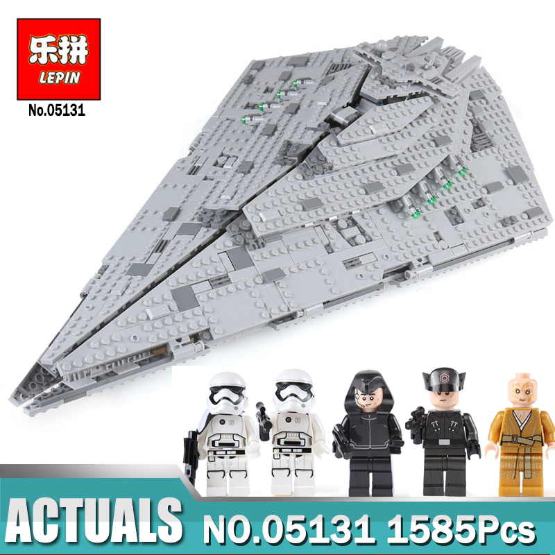 цена на 1585Pcs Lepin 05131 Star The First order Star Destroyer Set Compatible LegoING 75190 Wars Building Blocks Bricks Toy