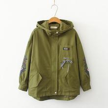 Женская уличная одежда, стильная армейская зеленая куртка, новинка, весна-осень, с капюшоном, на молнии, с длинными рукавами, с вышивкой, с бантом, куртки в стиле Харадзюку