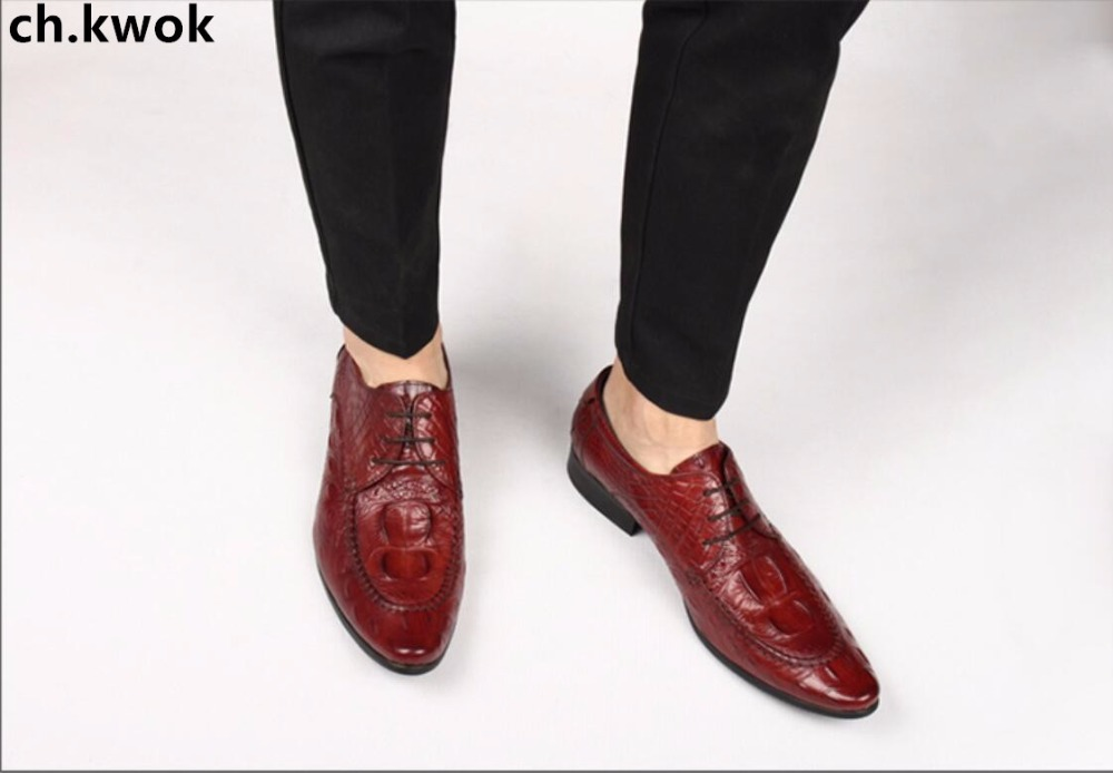 CH.KWOK Lace up Men Business Suits Tuxedo Leather Shoes Crocodile Spring Autumn Male Single Shoes Italian Borgue Oxfords Plus 45 ch kwok crocodile leather mens dress wedding oxfords slip on male business suits tuxedo oxfords spring autumn man derby shoes