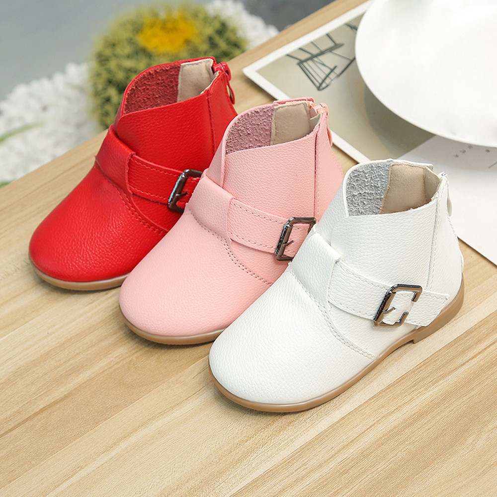 Babys Girls Shoes Leather Martin Sneaker Kids Children Winter Casual Snow Boots Child Booties Baby Toddler Shoe Anti-Slip BFOF