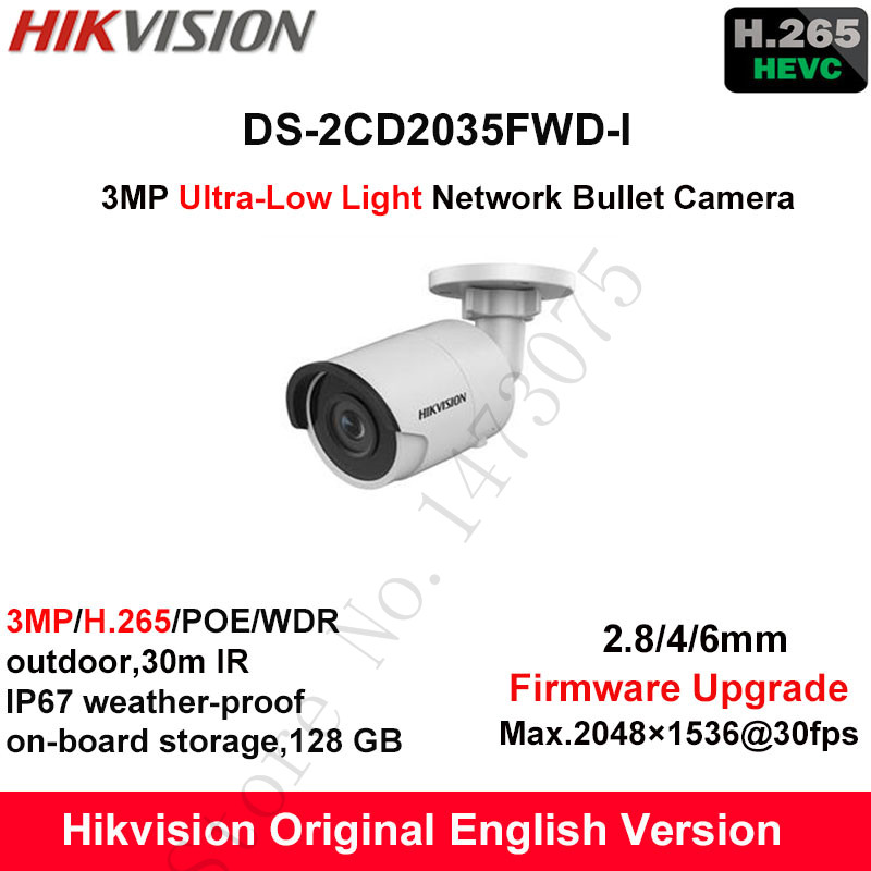 In Stock Hikvision English 3MP H 265 Ultra Low Light IP Camera DS 2CD2035FWD I Bullet