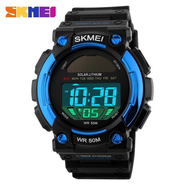 SKMEI Marca Hombres Del Reloj Del Deporte LED Digital de Energía Solar Reloj Impermeable de Los Hombres Al Aire Libre Casual Relojes de Pulsera Relogio masculino