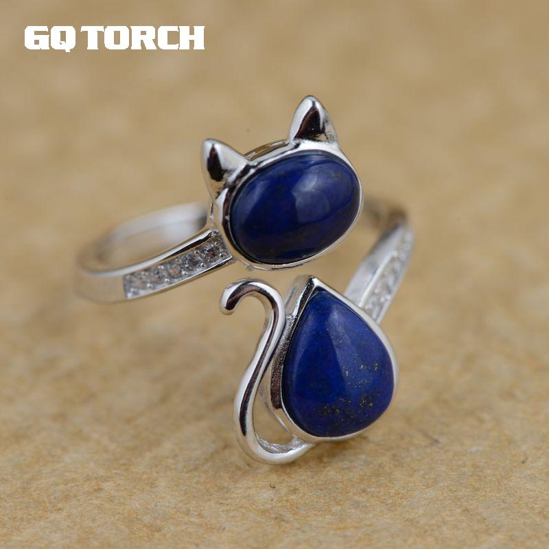 Real 925 Sterling Silver Lapis Lazuli Natural Stone Ring Lovely Cat Rings For Women Exquisite Fine Jewelry
