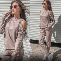 Women's Tracksuit knitted Suits 2 Piece Set Handmade Sequined Beading Knitting Sweater and Pants Suit Set 2019 suits for women