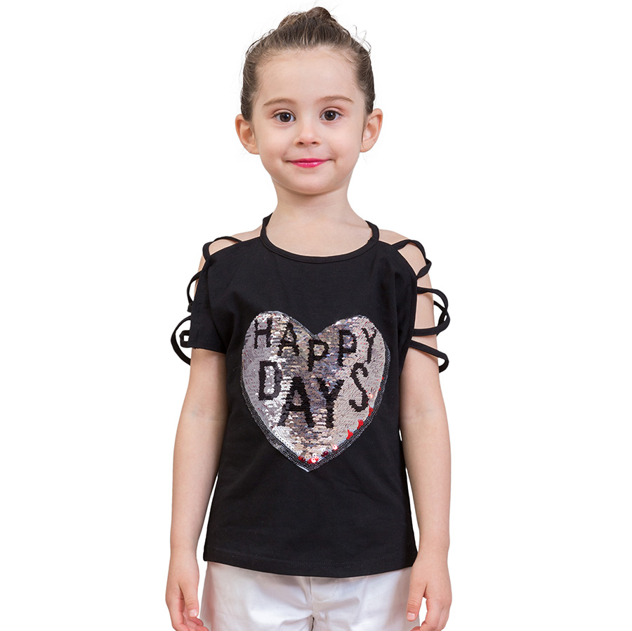 LCJMMO 3-10Y Fashion Style Sequins Girls T-Shirts Summer 2018 New Cotton Animal Girl Tops Tees Kids T-shirt Children Clothes