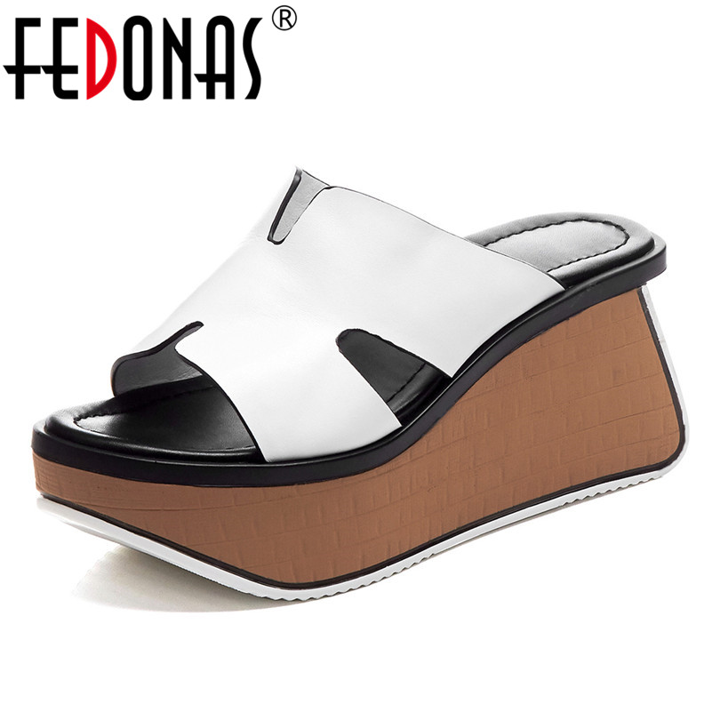 FEDONAS Summer New Fashion Sexy Genuine Leather Women Sandals Concise Comfortable Wedges Shoes Woman Casual Night