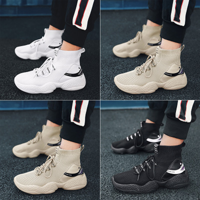 Shark Logo High Top Sneakers Women Knit Upper Breathable Sock Shoes Thick Sole 5 CM Fashion sapato feminino Black / White man