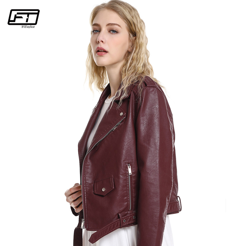 Fitaylor New 2019 Autumn Women PU   Leather   Jacket Red Black Pink Motorcycle Basic Jackets Faux   Leather   Coat Zipper Belt Outwear