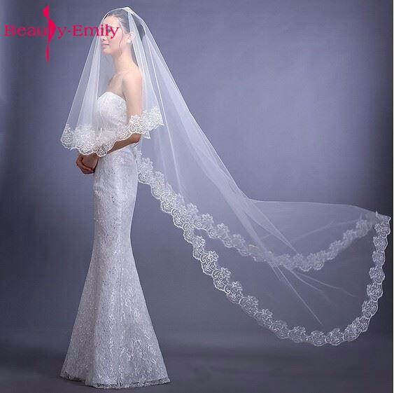 Cathedral Wedding Veil Accessories  Voile Mariage Vail Velos Lace Cotton Bride Veils