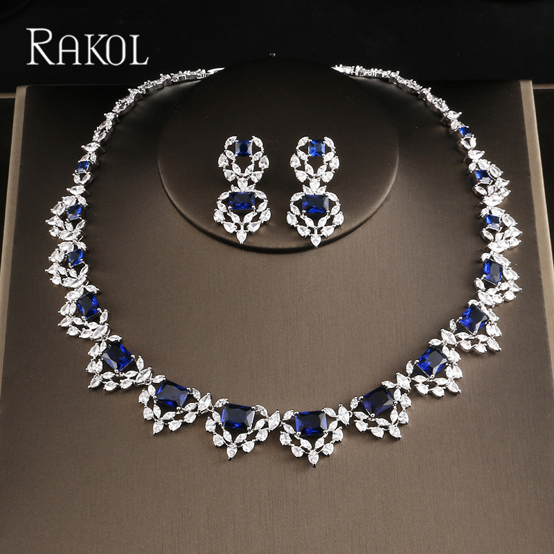 RAKOL Shiny Dazzling Austrian Crystal Necklace Earrings For Women Bridal Wedding Jewelries Set Fashion CZ zirconia Jewelry pair of dazzling crystal pendant alloy earrings for women