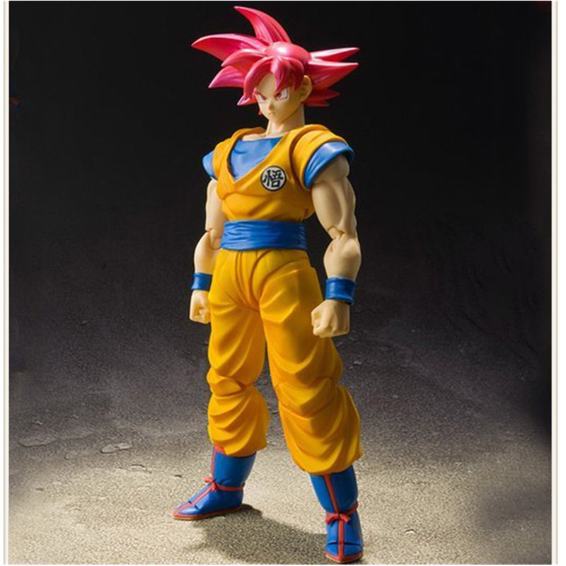 Dragon Ball Z Son Gokou Super Saiyan God Red Hair Kakarotto DBZ Anime Akira Toriyama PVC Action Figure Model Toy 16CM L1180