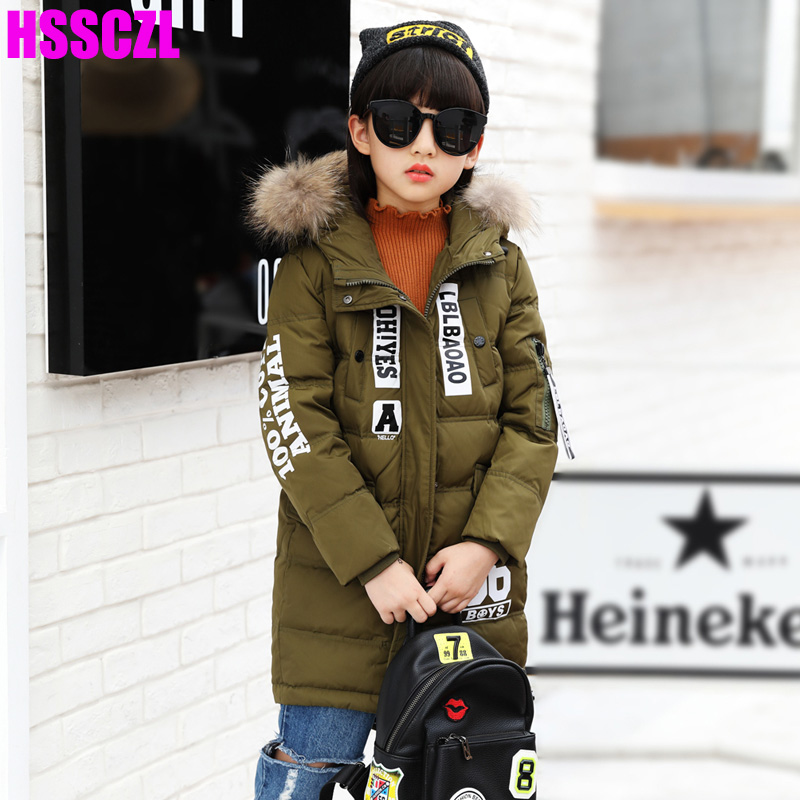 HSSCZL Girls Down Jackets 2017 winter Thicken Girl Down Coat Children Parkas Outerwear Overcoat Hooded Fur Long letter 5-14A allover cherry print tee
