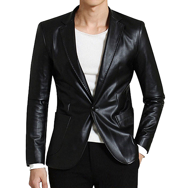 Aliexpress.com : Buy 2015 New Men's Slim fit Leather Blazers Men ...