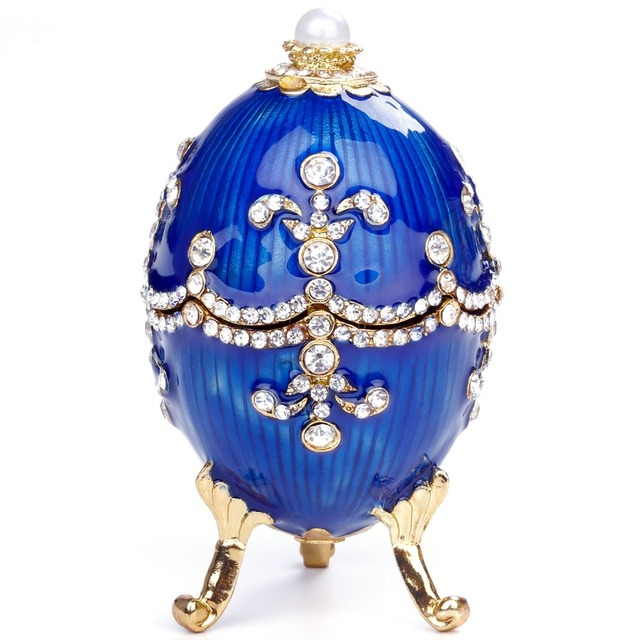 YUNGE Russia Eggs Figurine Jewelry Trinket Box Souvenir Gold Easter  jewelled gift Box Crystal Decorations Collectible Gifts c52ddae3800f