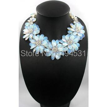 New Arriver mode fleur bijoux déclaration Bib perles bijoux fleur perle naturelle avec pierre de lune collier - livraison gratuite