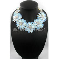 c84fc3499435 New Arriver Fashion Flower Jewelry Bib Statement Beaded Jewelry Flower  Natural Pearl With Moon Stone Necklace