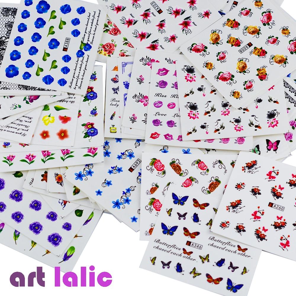 50 ark Nail Stickers Blandede Design Vannoverføring Nail Art Sticker - Manikyr - Bilde 2