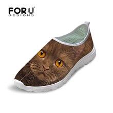 Модная женская повседневная обувь 3D животного милый кот плоские Обувь для леди женский досуг дышащий Mujer Zapatos скольжения на сетки Туфли без каблуков