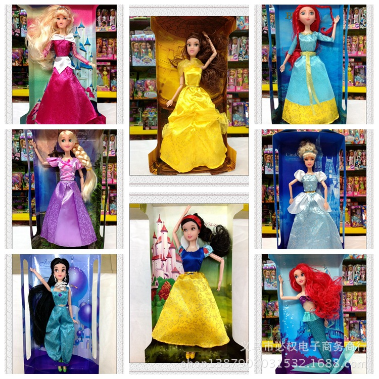 1pcs 30cm Disney Princess Doll New Style 11 Inch Snow White Belle Princess Plastic Toys for Childrens Birthday Gifts
