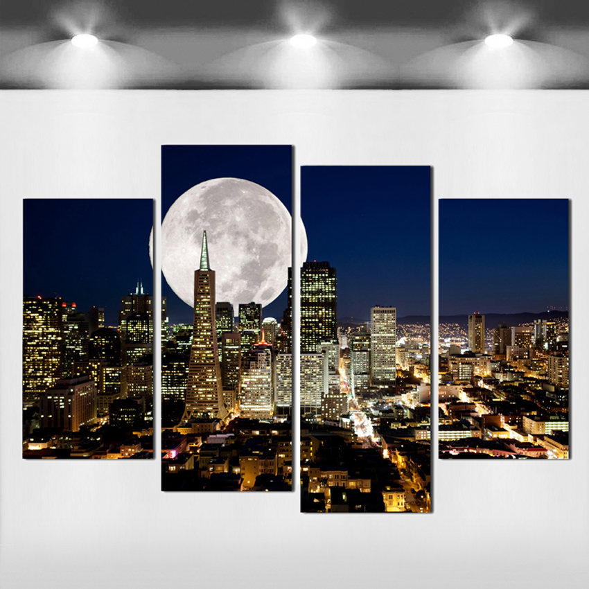 Mode HD Besar Kanvas lukisan 4 Panel Home Decor Wall Art Gambar Cetakan dari NewYork city night view Karya Seni F121