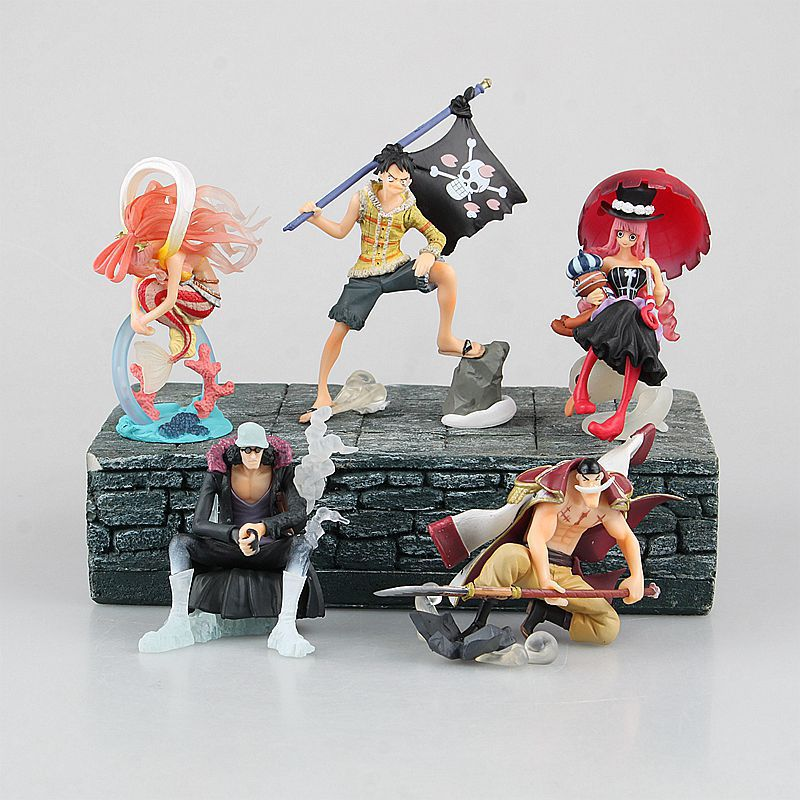 Anime font b Figure b font 6 5 10 CM 5PCS set One Piece Monkey D