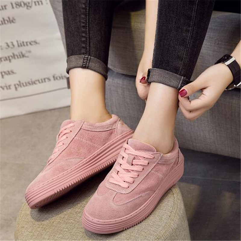2018 Shoes Woman Genuine Leather Sneakers Fashion White Pink Women Shoes Casual Flats Platform Shoes Creepers Flats