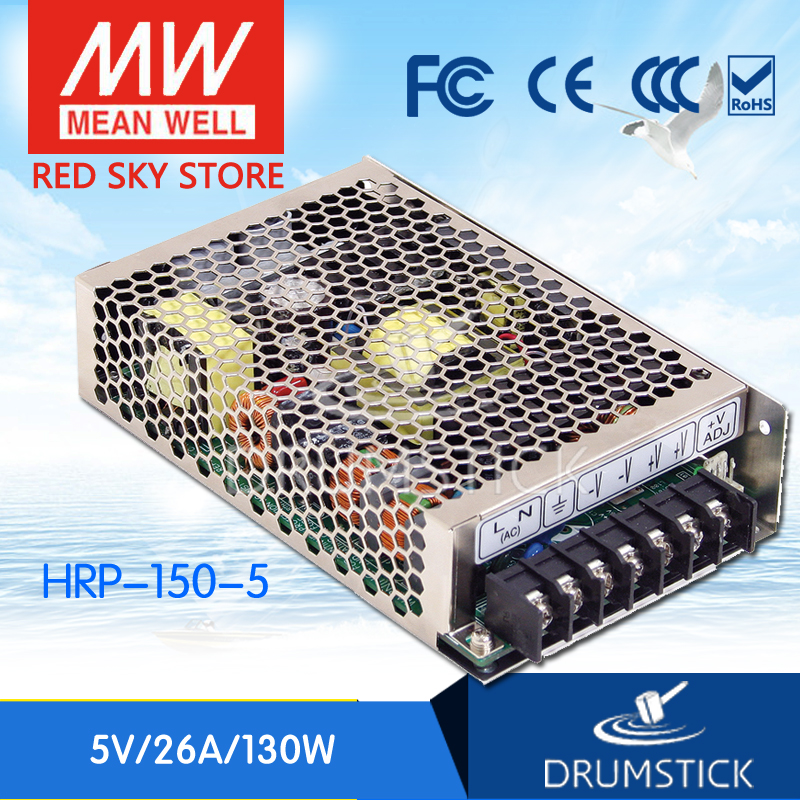 Hot sale MEAN WELL HRP-150-5 5V 26A meanwell HRP-150 5V 130W Single Output with PFC Function Power Supply best selling mean well hrp 200 7 5 7 5v 26 7a meanwell hrp 200 7 5v 200 3w single output with pfc function power supply